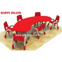 China Preschool Classroom Furniture , Kindergarten Classroom Furniture Children Half Moon Group Learning Table wholesale