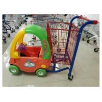 China Unfolding Supermarket Metal Shopping Trolley , Kids Shopping Cart With Plastic wholesale