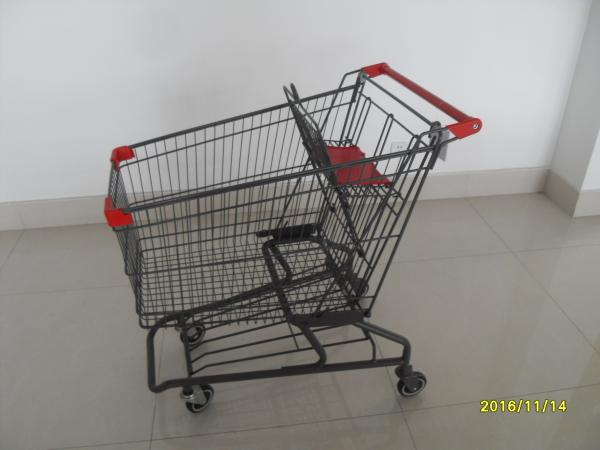 Quality Durable Grocery Shopping cart trolley With welded low tray and 4x4inch swivel lfat casters for sale