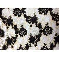 Polyester Embroidered Lace Fabric With Black And White Floral Pattern For Apparel