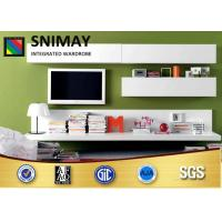 China Custom High Gloss LCD TV Stands Designs , White Corner Television Cabinet With Doors wholesale