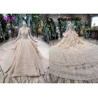 China Tulle Wedding Bridal Ball Gowns Long Sleeves V Neckline Lace Applications wholesale