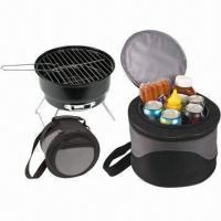 China Round Mini Charcoal Barbecue Grill with 600D Oxford Cooler Bag wholesale