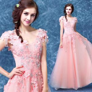 China Light Orange Stage Show Host Dress Elegant Evening Dresses TSJY041 wholesale