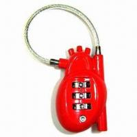 China 3 digits heart shape combination lock with cable wholesale