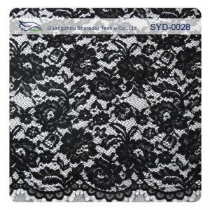 China Edge Nylon Viscose Cord Lace Fabric , Black Floral Scalloped Lace Fabric on sale