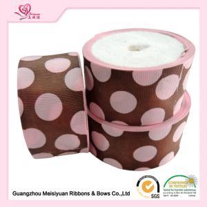 China 50 Mm Custom Grosgrain Ribbon Printing , Pink Dots & Red Dots Silk Grosgrain Ribbon wholesale