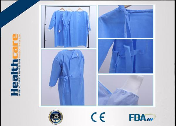 Quality Reinforced Disposable Surgical Gowns 120x140 High Risk Sterile SMS Gown With Knitted Cuff for sale
