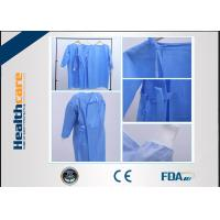 China Reinforced Disposable Surgical Gowns 120x140 High Risk Sterile SMS Gown With Knitted Cuff wholesale