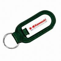 China Promotional Leather Keyring, Made of Stainless Steel wholesale