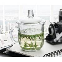 China Office Retro Drinking Glasses With Glass Lid / Boss Cup Glass Coffee Mug on sale