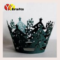 China Christmas tree Laser Cut Cupcake Wrappers green color paper deoration wholesale