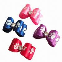 China Pet hair clip products, made of ribbon and crystals  wholesale