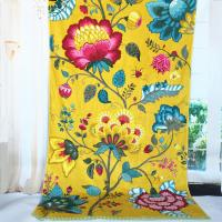 China Satin Border Large Promotional Beach Towels Yellow Flower Color 100 X 105 Cm wholesale