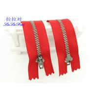 China 6 Inch Antique Brass Closed End Zip Red Tape Semi Auto - Lock Slider For Dress / Shoes wholesale