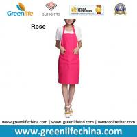 China Plain stock aprons OEM rose color imprinted aprons for advertisment eco-friendly fabric on sale