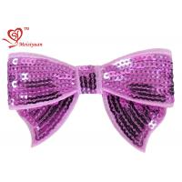 China Baby girl bows flower hair clips With Sequin 100% Polyester Satin Ribbon on sale