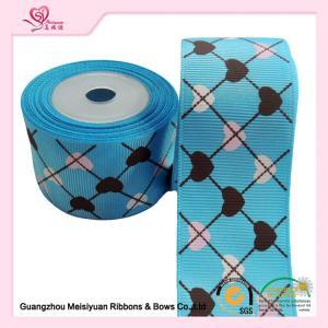 China 2 Inch Custom Printed Grosgrain Ribbon ,  Heart Shape Printed Designer Grosgrain Ribbon wholesale