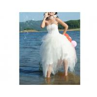China Ball Gown Strapless Asymetrical Satin Tulle Wedding Dresses for Bride wholesale