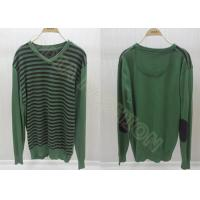 China Green Wool Mens Long Sleeve Sweaters in V Neck with Black Stripes wholesale