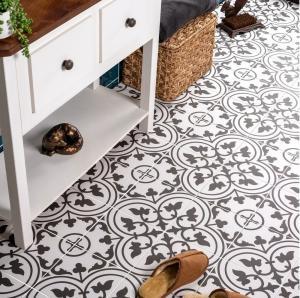 China Bathroom 8.5mm Decorative Carpet Floor Tiles White And Black on sale