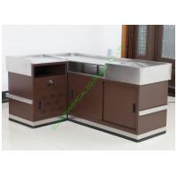 China Grocery Store Checkout Cash Register Wrap Counter Steel Coffee Reception Counter Desk wholesale