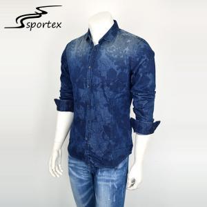 China Fashion Slim Denim Jeans Shirt For Man , Printed Denim Shirts Full Sleeve Length wholesale