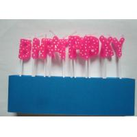 Pink Letter Birthday Candles 13 Pcs / Pack Odorless With White Dots Decoration