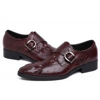 China Autumn Leather Monk Strap Dress Shoe , Wine Red Mens Leather Slip On Dress Shoes wholesale