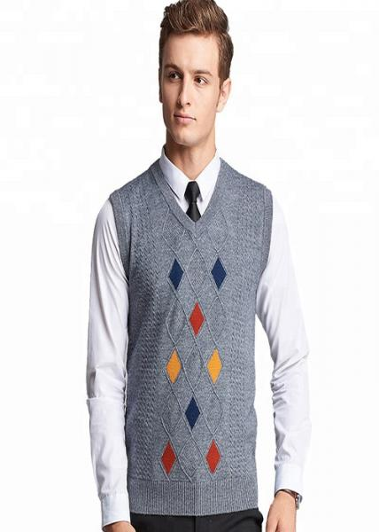 Quality Autumn Mens Knit Sweater Plaid Pattern Intarsia Regular Sleeve Sweater Vest for sale