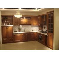 China Marble stone Countertop Solid Wood Kitchen Furniture , White Closeout Kitchen Cabinets wholesale