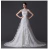 China Unique Pearl illusion neckline Halter Neck Wedding Dresses with Lace back wholesale