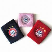 China Cotton/Polyester Sweatbands, Customized Colors are Welcome, Measures 6 x 8cm wholesale