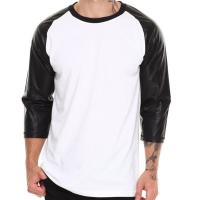 China Blank tshirt 3/4 leather sleeves for wholesale t shirt price china wholesale