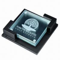 China Glass Coaster with Customized Logo, (Cork Coasters Also Available) wholesale