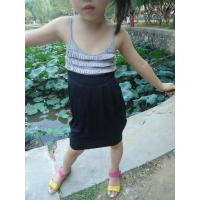 China Classy Summer Lovely Girls Pleated Dress , Black Girls Spaghetti Strap Dress wholesale