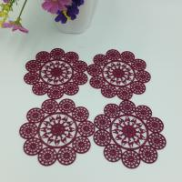 China Elegant Purplish Red Hollow Silicone Rubber PVC Coaster Table Placemat, Flower Design Consist Of Deer, Accept Paypal wholesale