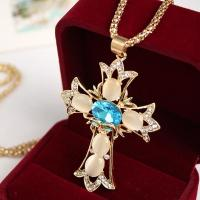 China Factory jewelry Direct Sale Gold Plating / Silver Plating Synthetic Opal Cross Pendant Necklaces wholesale
