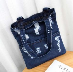 China Summer fashion hole jeans female Korean fashion large capacity bag shoulder bag shopping bag wholesale