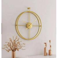 China 55cm Gold Large Double Circular Metal Round Fashion Modern Simple Design Wall 3d Decorative Wall Clock wholesale