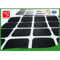 China Black Color Nylon Square Adhesive hook and loop Patches With Round Corner wholesale