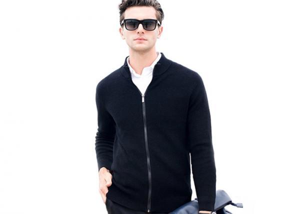 Quality Mens Full Zip Cardigan Sweater , Mens Black Long Sleeve Cardigan Wool Sweater for sale