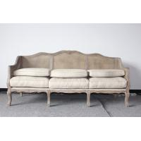 Buy cheap Event wedding oak wood sofa comfortable upholstery sofa with linen wooden frame rattan back sofa from wholesalers