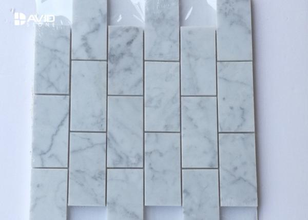 Quality Mosaic Carrara Marble Floor And Wall Tiles 18pcs Sheet Corrosion Resistance for sale