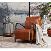 China Rustic Top Grain Genuine Leather Leisure Chair Comfortable Cushion Living Room Furniture wholesale