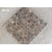 China Dark Emperador Marble Mosaic Tile Sheets Polished 121 Pcs Scratch Resistant wholesale