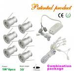 Mini 1W LED Downlight 6pcs+LED Drive Kit Dimmable Recessed LED spotlight