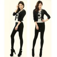 China Burgundy Cream Womens Cotton Tights , Adults Polyester Cotton Spandex Leggings wholesale