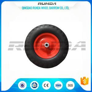 China Steel Rim Heavy Duty Swivel Caster Wheels Blocky Pattern 30 PSI 400mm Size wholesale