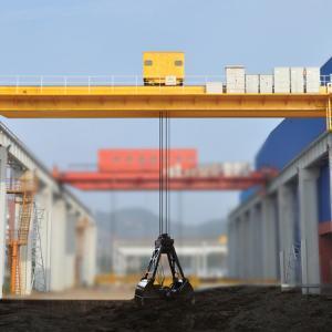 China QZ Grab Bucket Double Beam Overhead Crane Electric Winch Cart on Bulk Cargo wholesale